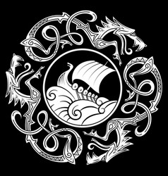 Ancient decorative dragon in celtic style vector