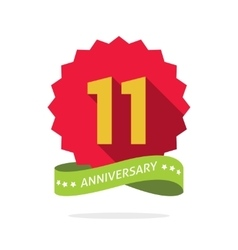 Anniversary 11th badge with shadow on red vector