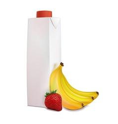 banana strawberry juice in carton vector image