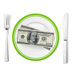 Banknotes on a plate on white vector