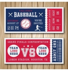 Baseball Blue Red Tickets vector