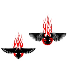 Black eagles with tribal flames vector image