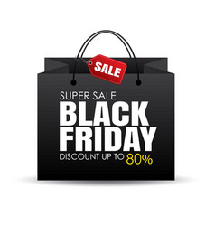black friday shopping bag and sale tag on white vector image