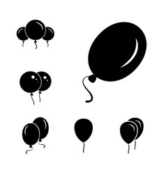 black party balloon icons isolated on white vector image