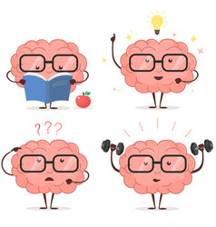 Brain cartoon set vector