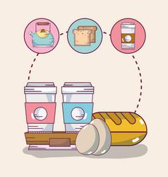breakfast food elements vector image