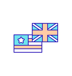 british and american english rgb color icon vector image