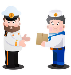 Captain and sailor with a box of cartoon funny vector