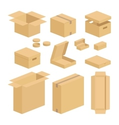 Carton box pack set vector