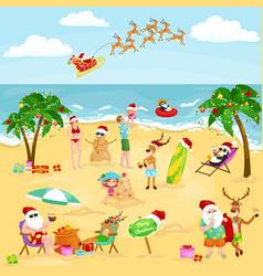Cartoon image of people in festive mood on beach vector