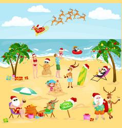 cartoon image people in festive mood on beach vector image