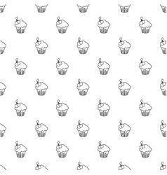 cherry cupcake pattern seamless vector image