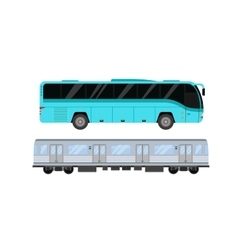 City road tram and bus transport vector