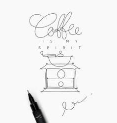 Coffee pen line poster spirit vector