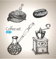Coffee set bean bag mill cezve vector image
