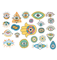 Colorful eyes talisman icons isolated on white vector