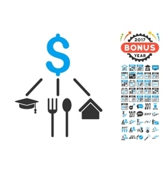 Consumption Pattern Icon With 2017 Year Bonus vector
