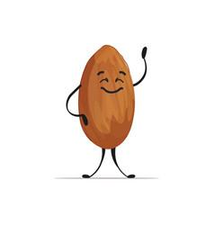 Cute almond character cartoon mascot nut healthy vector
