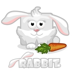 Cute cartoon square rabbit rabbit with carrot vector