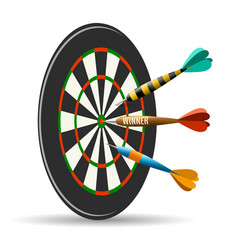 dartboard with darts vector image