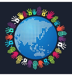 Diversity human hand Asian world vector
