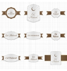 Eid Mubarak greeting Labels Set vector