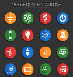 Electricity 16 flat icons vector