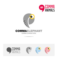 elephant animal concept icon set and logo brand vector image