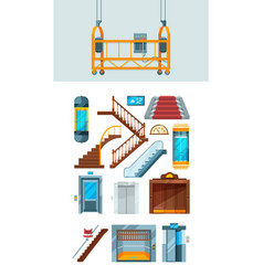 elevator building stairs apartment lifting vector image