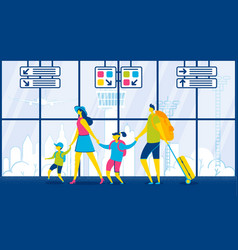 family travel passengers with luggage in airport vector image