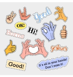 Fashion patch badges Hands set Stickers pins vector image