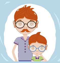 father with his son using glasses vector image