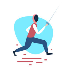 Fencing man training swordsman white background vector