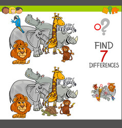 Find differences with safari animals characters vector