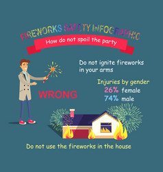 Fireworks safety infographic forbidden in houses vector