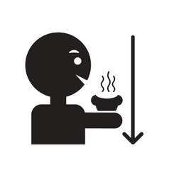 Flat icon in black and white style man drinking vector