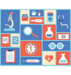 Flat medical symbols and instruments vector image