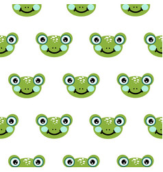 Frog head seamless pattern cute green vector
