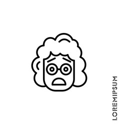 Frowning with open mouth emoji outline girl vector