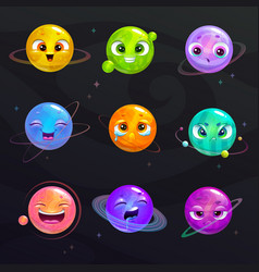 Funny cartoon colorful planets with cute faces vector