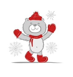 Funny santa bear for your design vector