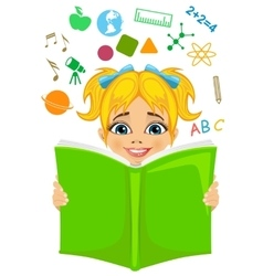 Girl reading a book with education related icons vector