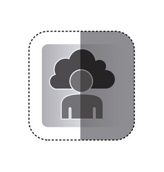 gray cloud person technology icon vector image