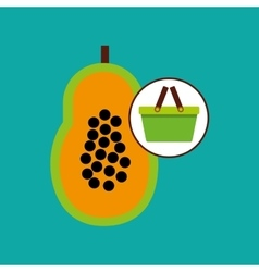 Green basket fresh papaya design icon vector