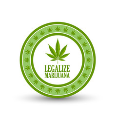 Green legalize marijuana hemp cannabis sativa or vector