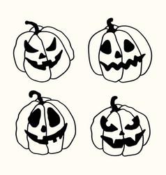 halloween cartoon outline spooky face pumpkins set vector image