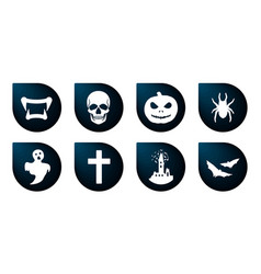 halloween icons funny faces with different vector image