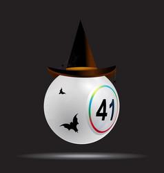 halloween white bingo lottery ball on black vector image
