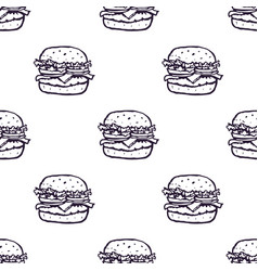 hand drawn burger seamless pattern background vector image