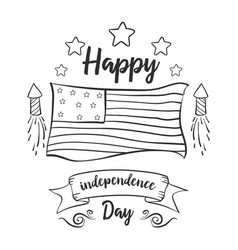 Happy independence day collection hand draw vector
